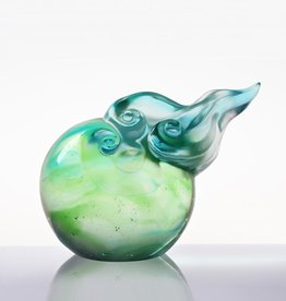 LIULI Crystal Art Crystal Cloud Paperweight, Sky Blue/Spring Green Clear
