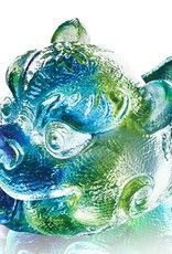 LIULI Crystal Art Crystal Mythical Qilin, Becoming King, Bluish/Green Clear (Limited Edition)