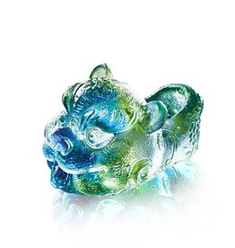 LIULI Crystal Art Crystal Mythical Qilin, Bluish/Green Clear (Limited Edition)