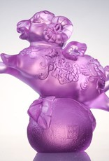 "LIULI Crystal Art Crystal Ram ""With Wings, I Soar"" in Pink (Limited Edition)"