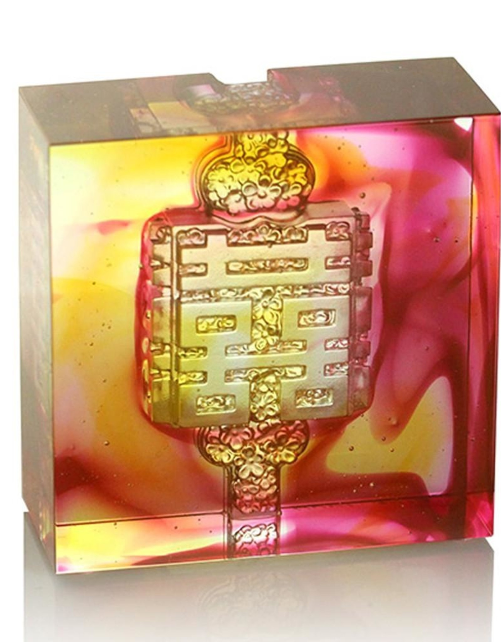 LIULI Crystal Art Crystal Knot of Happiness Paperweight, Amber/Gold Red