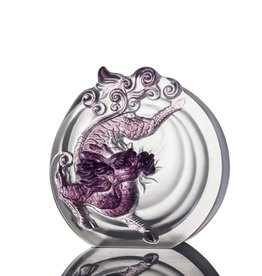 "LIULI Crystal Art Crystal Mythical Qilin ""Sun Dance"" Violet/Red Clear"