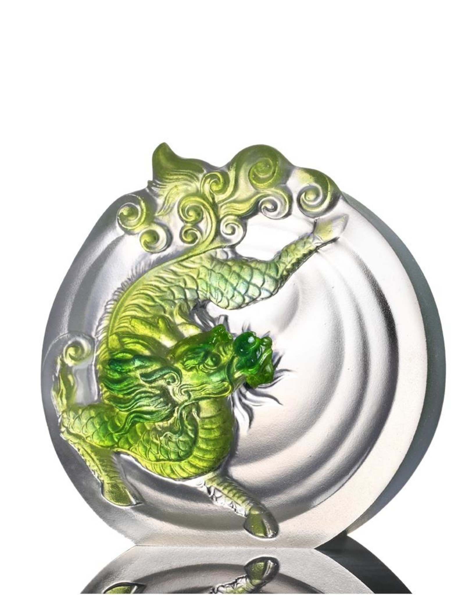 "LIULI Crystal Art Crystal Mythical Qilin ""Sun Dance"" in Bluish/Green Clear"