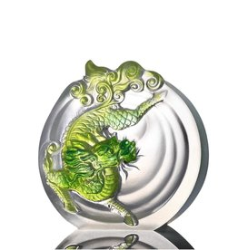 "LIULI Crystal Art Crystal Mythical Qilin ""Sun Dance"" in Bluish/Green Clear"