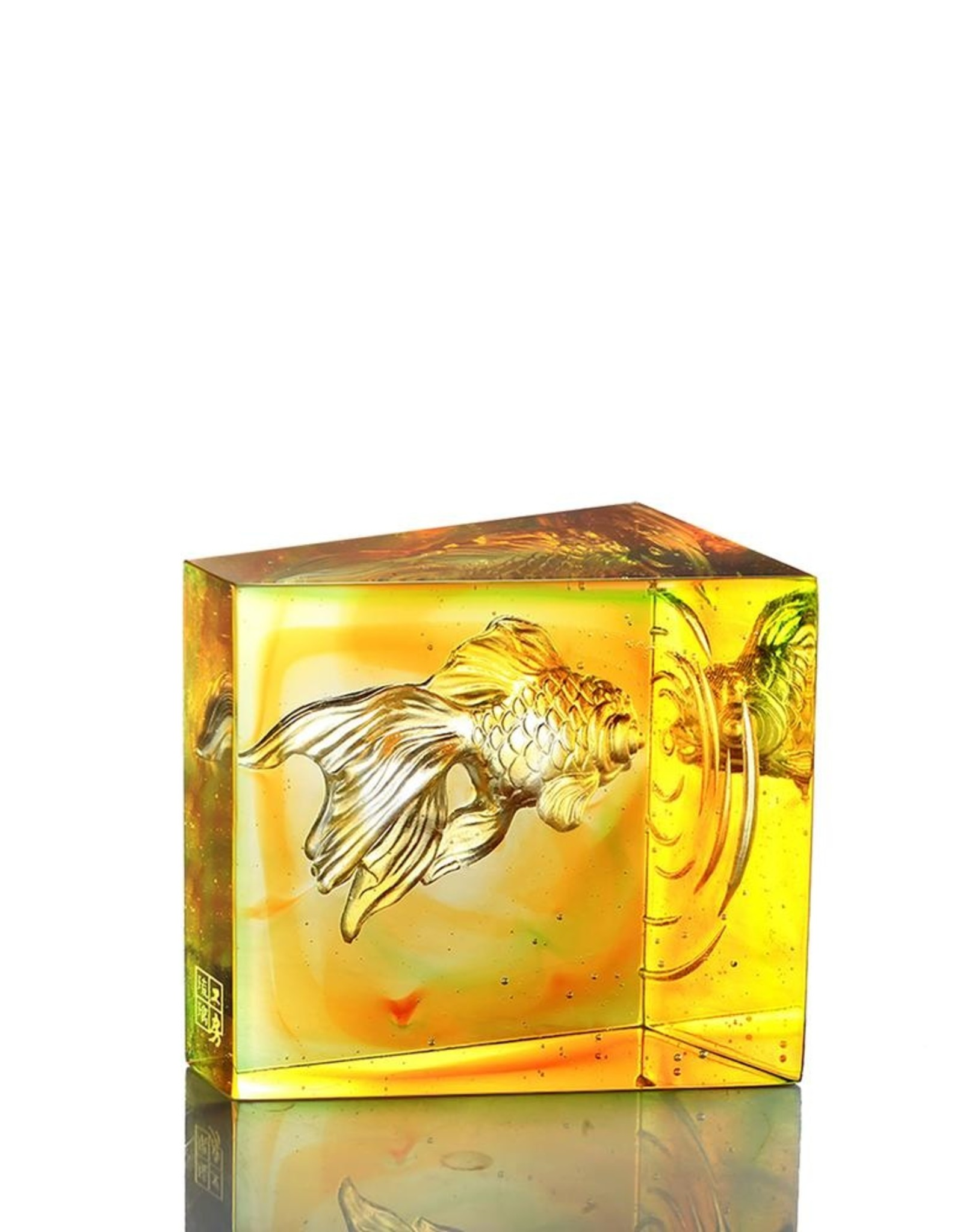 "LIULI Crystal Art Crystal Goldfish ""Swim Toward Freedom"" in Amber/Spring Green"