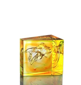 LIULI Crystal Art Crystal Goldfish, Swim Toward Freedom, Amber/Spring Green
