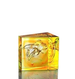 LIULI Crystal Art Crystal Goldfish, Swim Toward Freedom, Amber/Spring Green