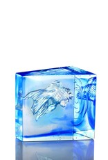 "LIULI Crystal Art Crystal Goldfish ""Swim Toward Freedom"" Figurine in Sky Blue/Blue Clear"