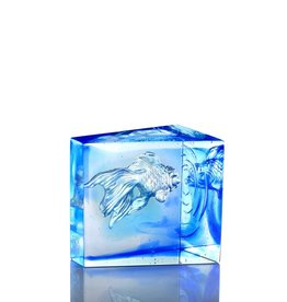 LIULI Crystal Art Crystal Goldfish, Swim Toward Freedom, Sky Blue/Blue Clear