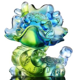 "LIULI Crystal Art Crystal Year of the Dragon Figurine ""So Spirited"" in Bluish/Green (Limited Edition)"