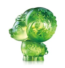 "LIULI Crystal Art Crystal Year of the Sheep ""Dear"" Figurine in Amber/Green Clear (Limited Edition)"