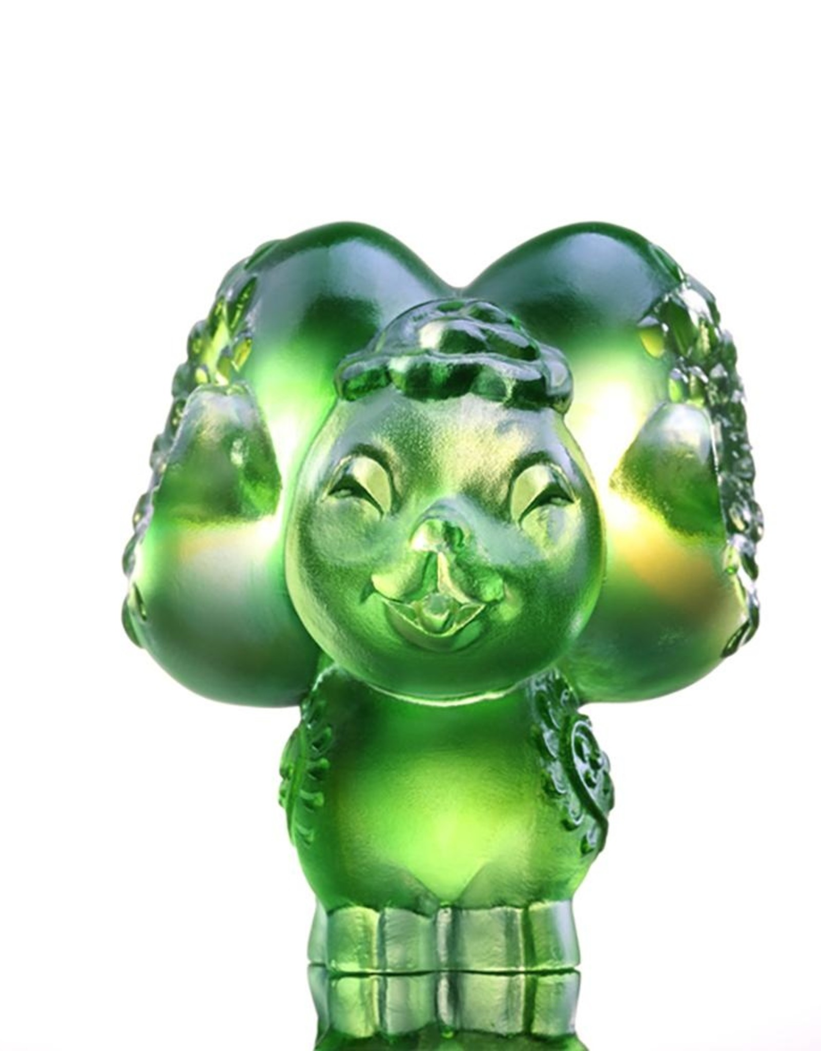 """LIULI Crystal Art Crystal Year of the Sheep Chinese Zodiac """"Dear"""" Figurine in Amber/Green Clear (Limited Edition)"""