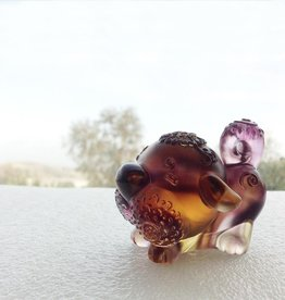 "LIULI Crystal Art Crystal Year of the Dog ""Prosperity Comes Along"" Figurine, Amber/Purple Clear (Limited Edition)"