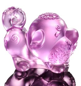 "LIULI Crystal Art Crystal Year of the Dog ""Prosperity Comes Along"" Figurine, Pink (Limited Edition)"