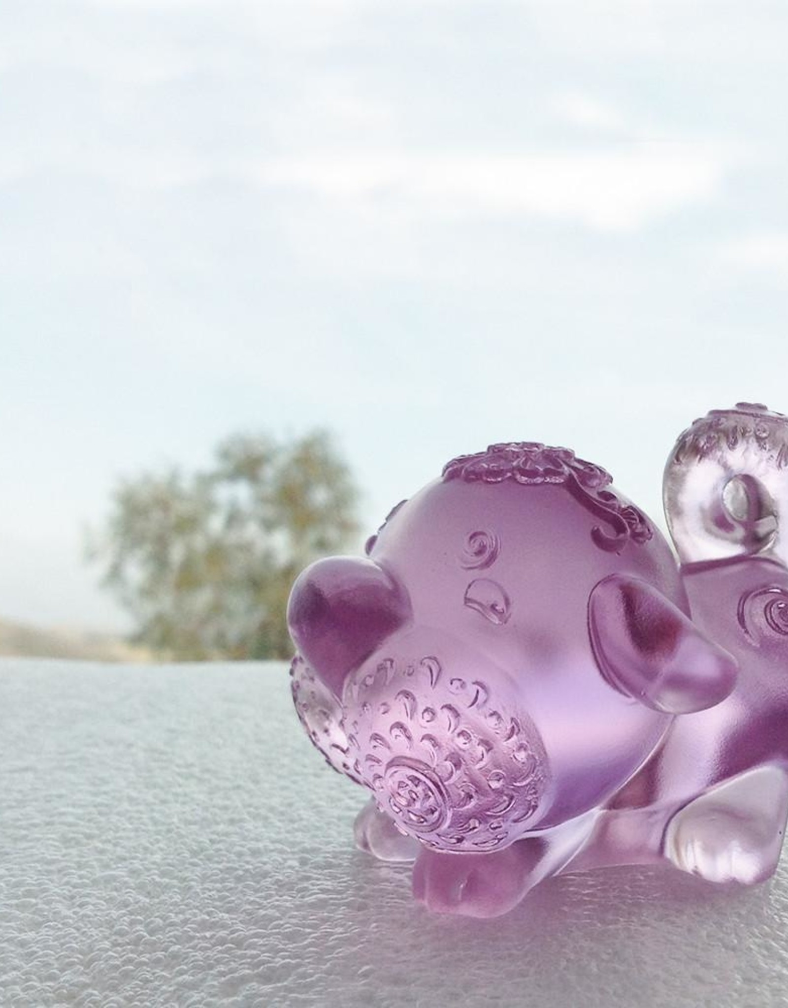 "LIULI Crystal Art Crystal Year of the Dog ""Prosperity Comes Along"" Chinese Zodiac Figurine in Pink (Limited Edition)"