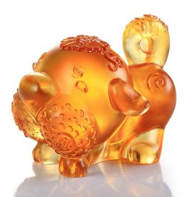 "LIULI Crystal Art Crystal Year of the Dog ""Prosperity Comes Along"" Figurine, Dark Amber/Light Amber (Limited Edition)"