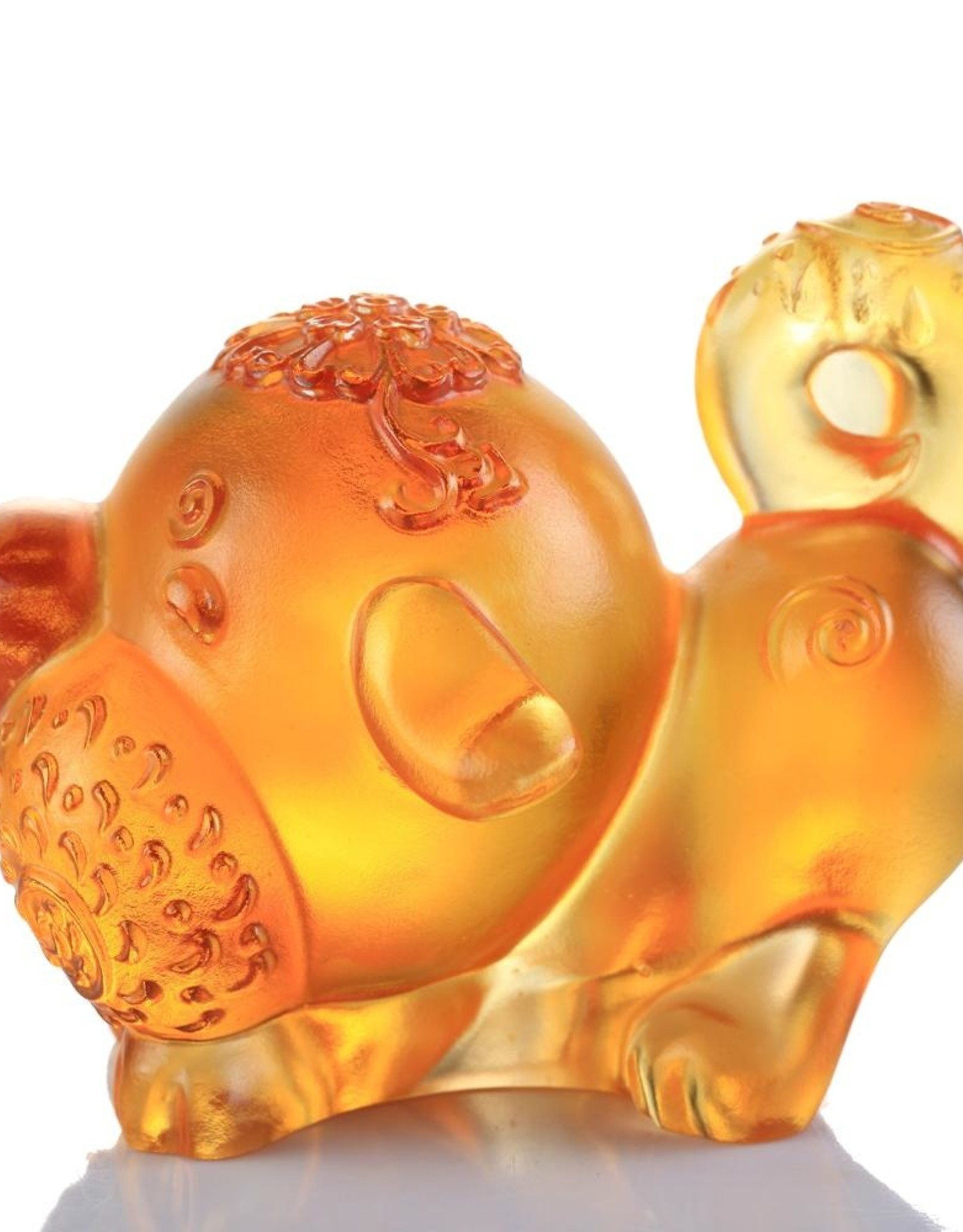 """LIULI Crystal Art Crystal Year of the Dog """"Prosperity Comes Along"""" Chinese Zodiac Figurine in Dark Amber/Light Amber (Limited Edition)"""