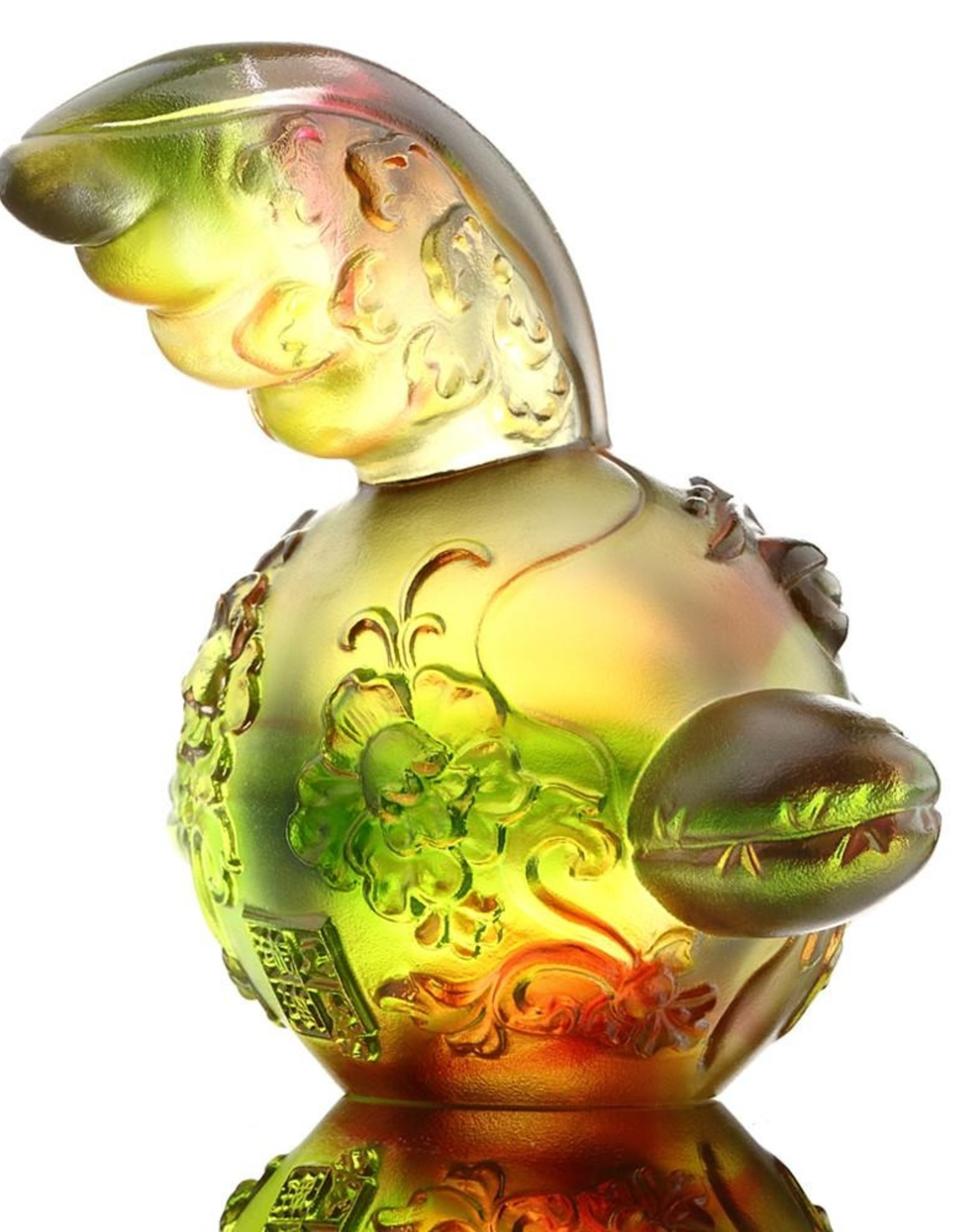 "LIULI Crystal Art Crystal Year of the Rooster ""The First Call"" Chinese Zodiac Figurine, Gold Red/Green (Limited Edition)"