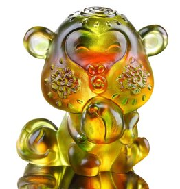 "LIULI Crystal Art Crystal Year of the Monkey ""Little Saint"" Figurine, Amber/Green (Limited Edition)"