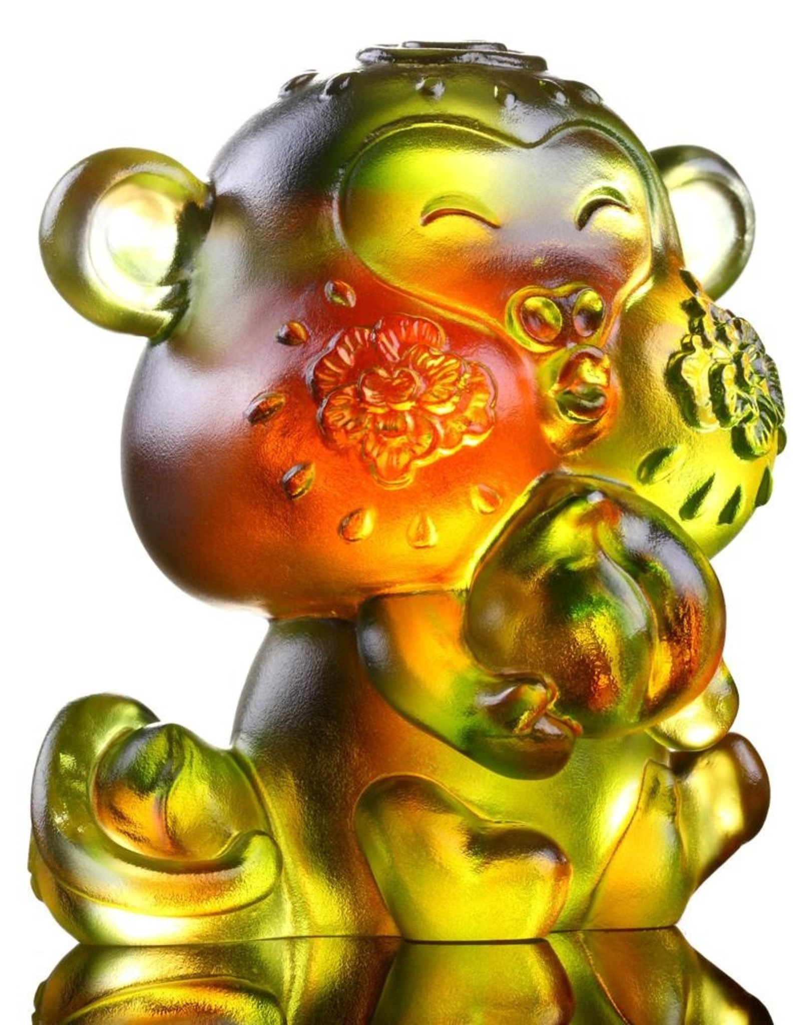 """LIULI Crystal Art Crystal Year of the Monkey """"Little Saint"""" Chinese Zodiac Figurine in Amber/Green (Limited Edition)"""