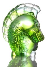 "LIULI Crystal Art Crystal Year of the Horse ""Jovial in Good Spirit"" Chinese Zodiac Figurine in Green (Limited Edition)"