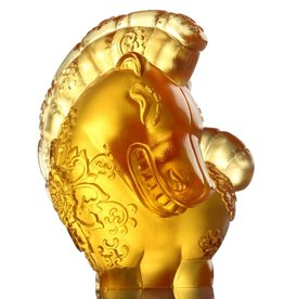 "LIULI Crystal Art Crystal Year of the Horse ""Jovial in Good Spirit"" Figurine, Amber (Limited Edition)"