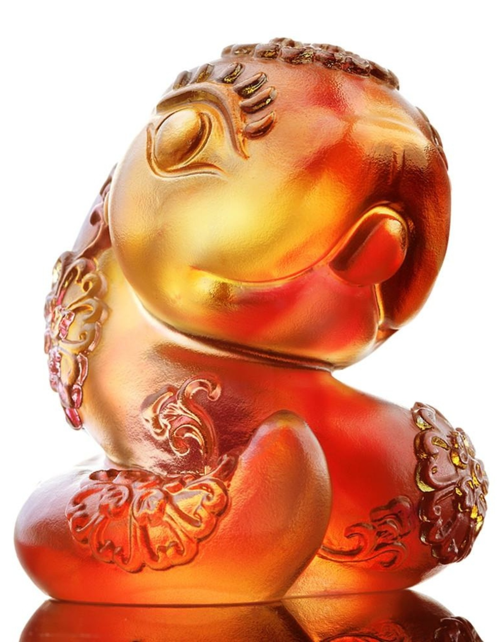 """LIULI Crystal Art Crystal Year of the Snake """"Serpentine"""" Chinese Zodiac Figurine in Amber/Gold Red (Limited Edition)"""