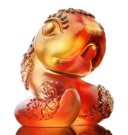 "LIULI Crystal Art Crystal Zodiac Snake ""Serpentine"" Figurine, Amber/Gold Red (Limited Edition)"