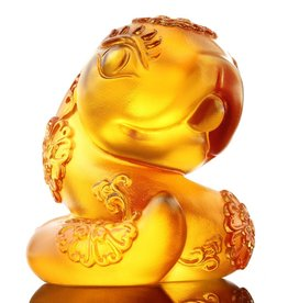 "LIULI Crystal Art Crystal Zodiac Snake ""Serpentine"" Figurine, Amber (Limited Edition)"