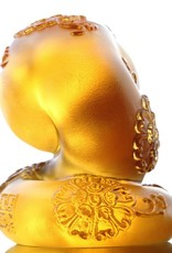 "LIULI Crystal Art Crystal Year of the Snake ""Serpentine"" Chinese Zodiac Figurine in Amber (Limited Edition)"
