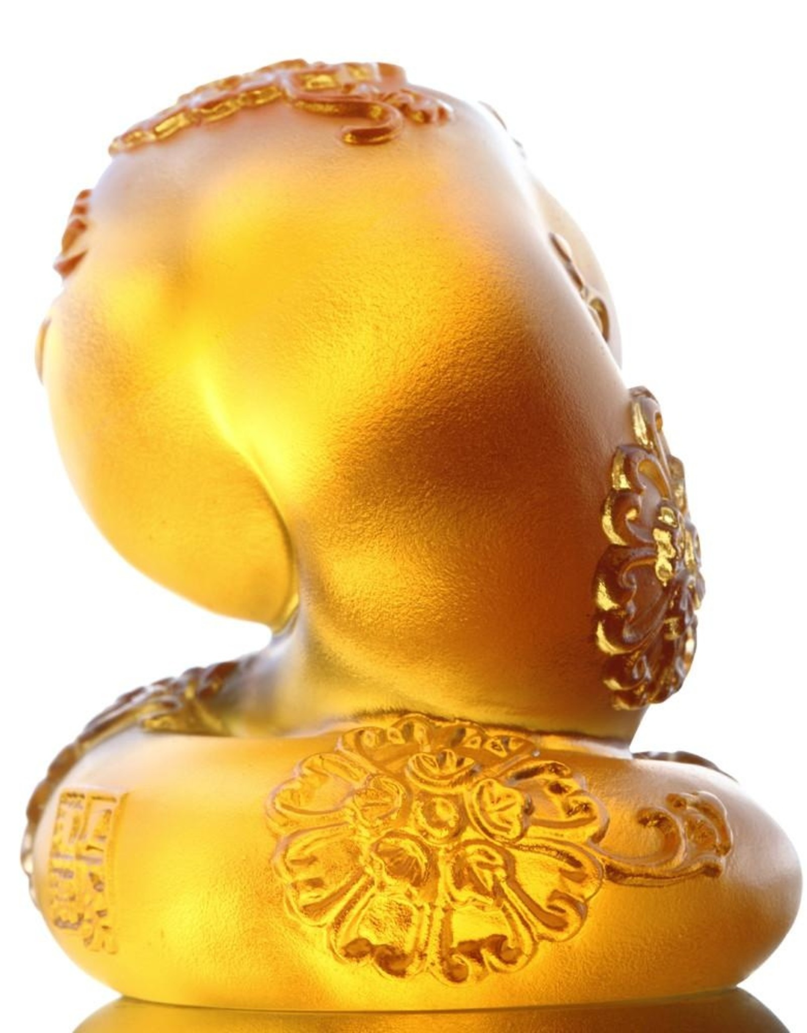 """LIULI Crystal Art Crystal Year of the Snake """"Serpentine"""" Chinese Zodiac Figurine in Amber (Limited Edition)"""
