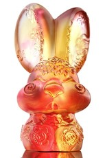 """LIULI Crystal Art Crystal Year of the Rabbit """"Darling"""" Chinese Zodiac Figurine in Amber/Gold Red (Limited Edition)"""