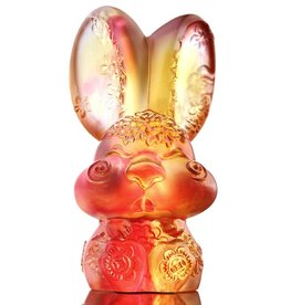 "LIULI Crystal Art Crystal Year of the Rabbit ""Darling"" Figurine, Amber/Gold Red (Limited Edition)"