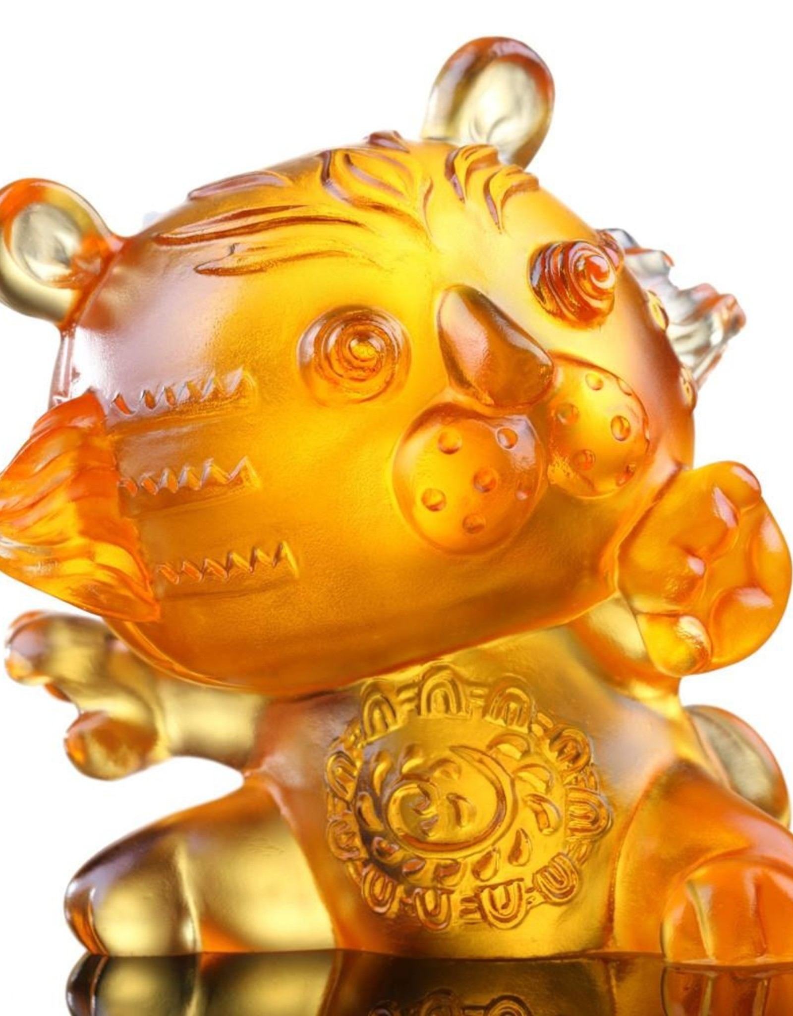 "LIULI Crystal Art Crystal Year of the Tiger ""Little Valiant One"" Chinese Zodiac Figurine in Light Amber (Limited Edition)"