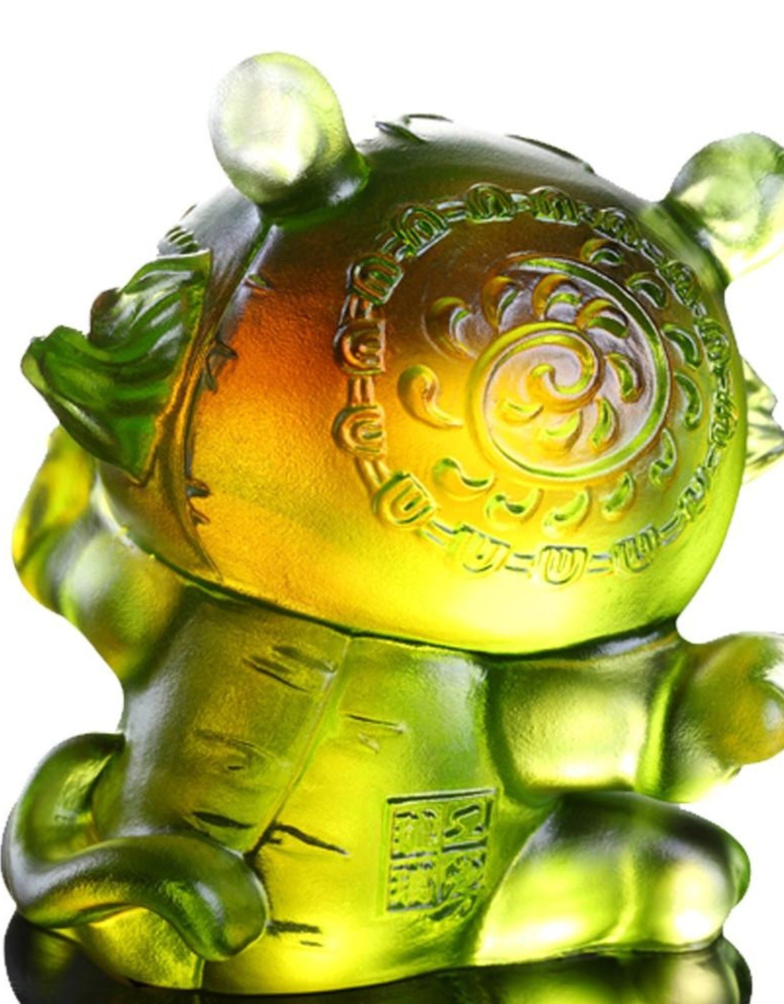 """LIULI Crystal Art Crystal Year of the Tiger """"Little Valiant One"""" Chinese Zodiac Figurine in Amber/Green Clear (Limited Edition)"""