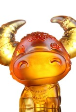 "LIULI Crystal Art Crystal Year of the Ox ""Horned Fortune"" Chinese Zodiac Figurine in Light Amber (Limited Edition)"