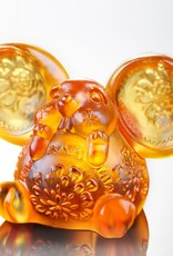 """LIULI Crystal Art Crystal Year of the Rat """"Come Fortune"""" Chinese Zodiac Mouse Figurine in Amber (Limited Edition)"""