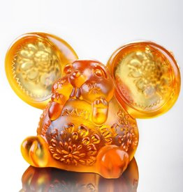 "LIULI Crystal Art Crystal Year of the Rat ""Come Fortune"" Zodiac Mouse Figurine, Amber (Limited Edition)"