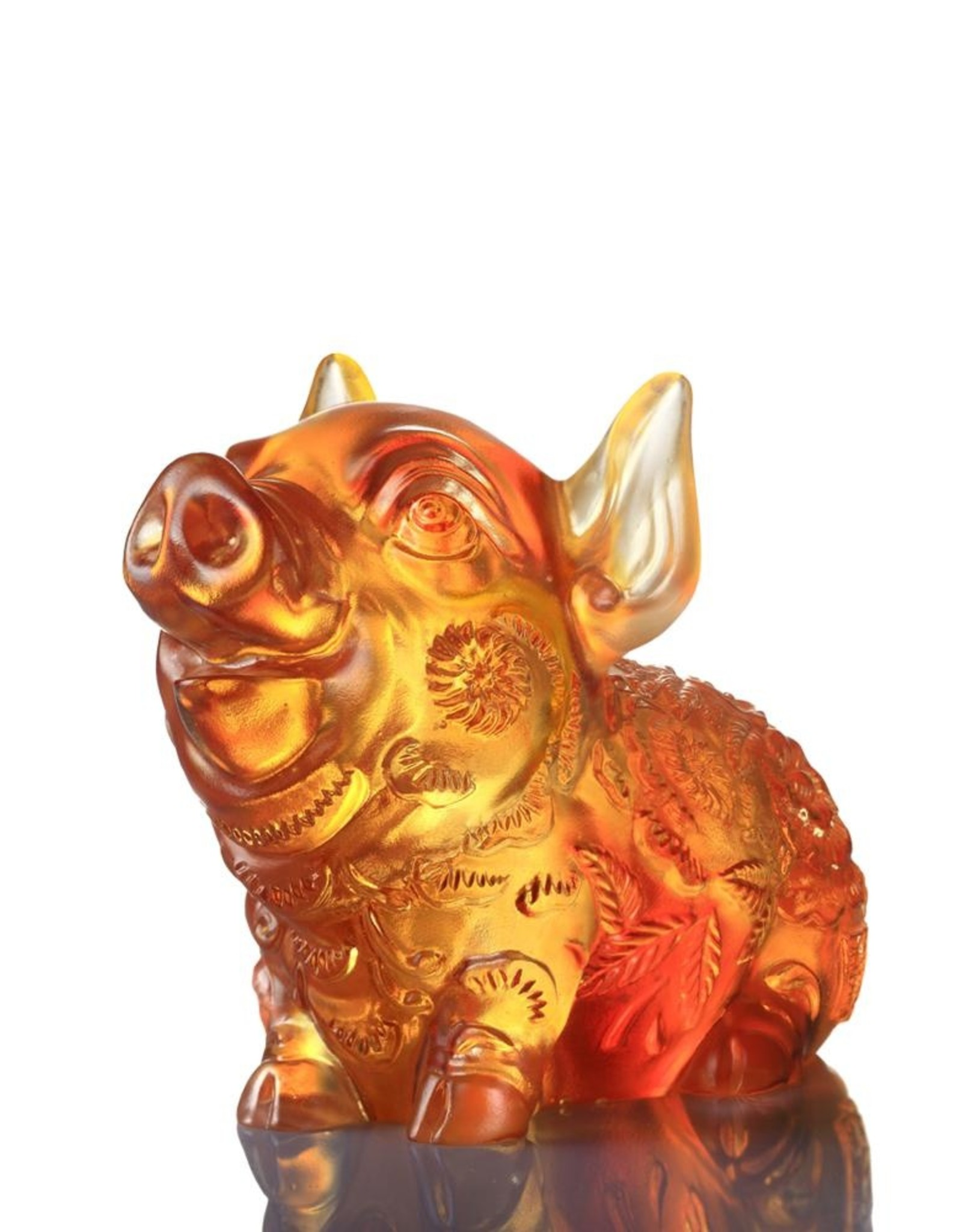 """LIULI Crystal Art Crystal Year of the Pig """"Piglet of Fortune"""" Chinese Zodiac Figurine in Dark Amber/Light Amber (Limited Edition)"""