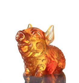 "LIULI Crystal Art Crystal Year of the Pig ""Piglet of Fortune"" Figurine, Dark Amber/Light Amber (Limited Edition)"