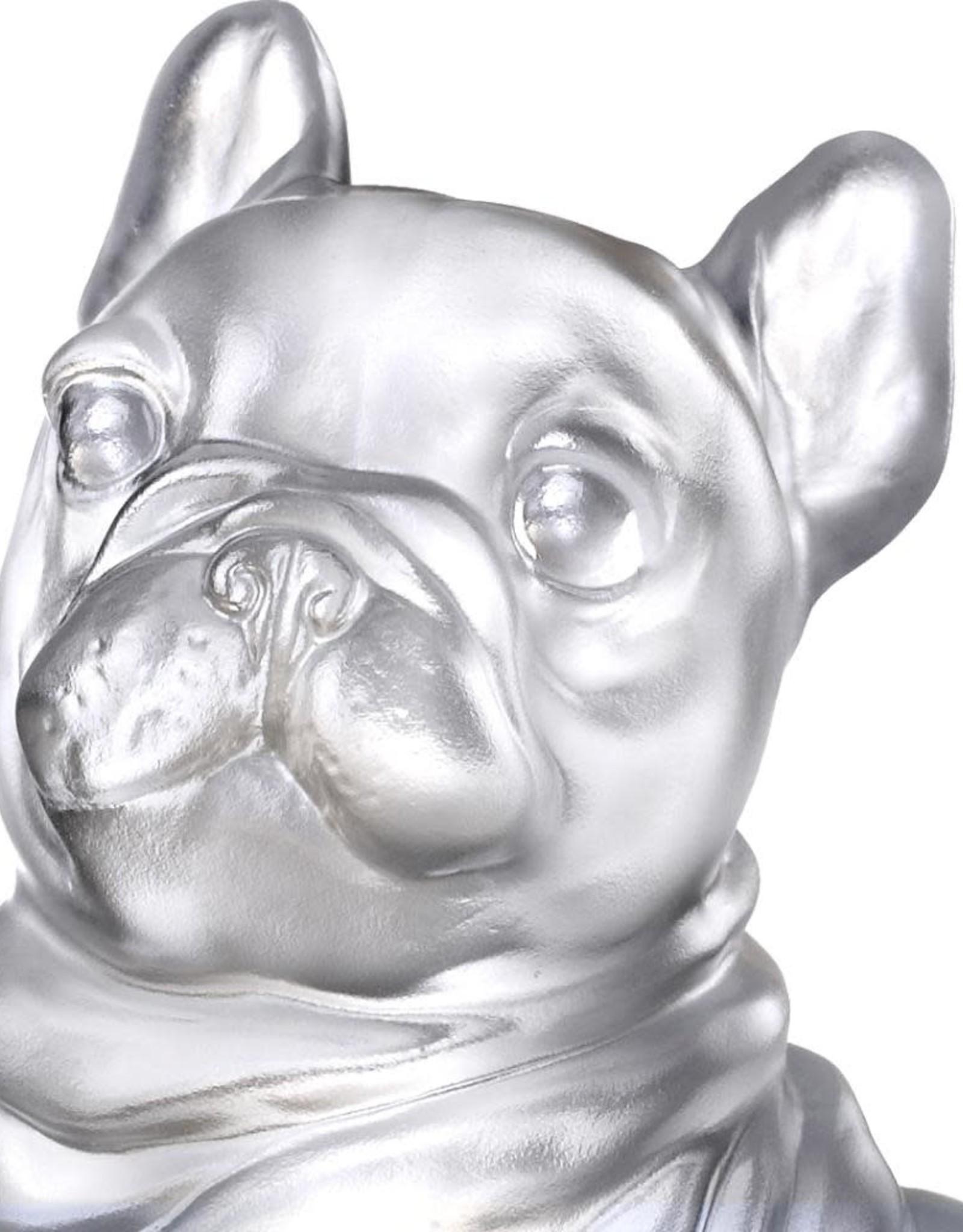 LIULI Crystal Art Crystal French Bulldog Heads Up! (Exclusive U.S. Edition with Gilded Peony Display Base)