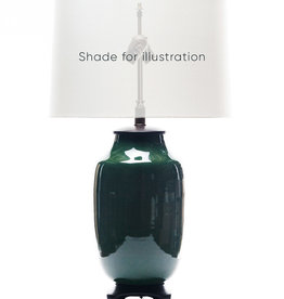 Lawrence & Scott Legacy Lagom Lantern Lamp in Racing Green Crackle with Rosewood Base
