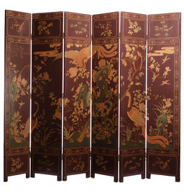 Lawrence & Scott Plum Phoenix 6-Panel Double-Sided Coromandel Screen