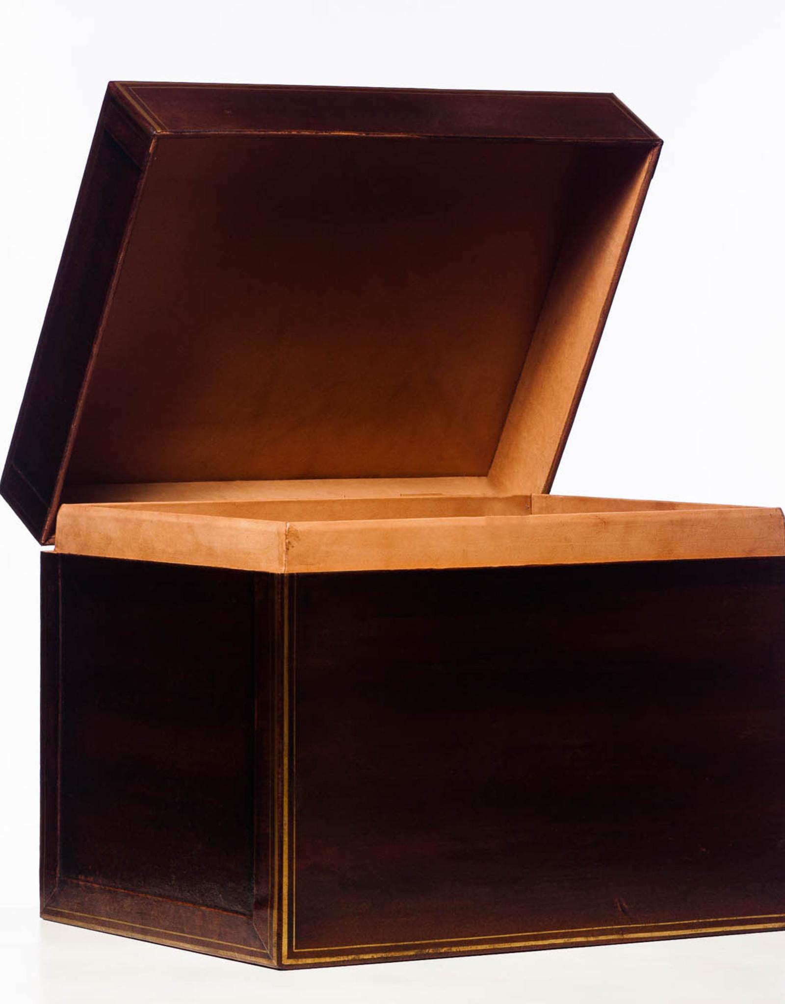 """Lawrence & Scott Mahogany Regalia Leather Box (18.5"""")"""