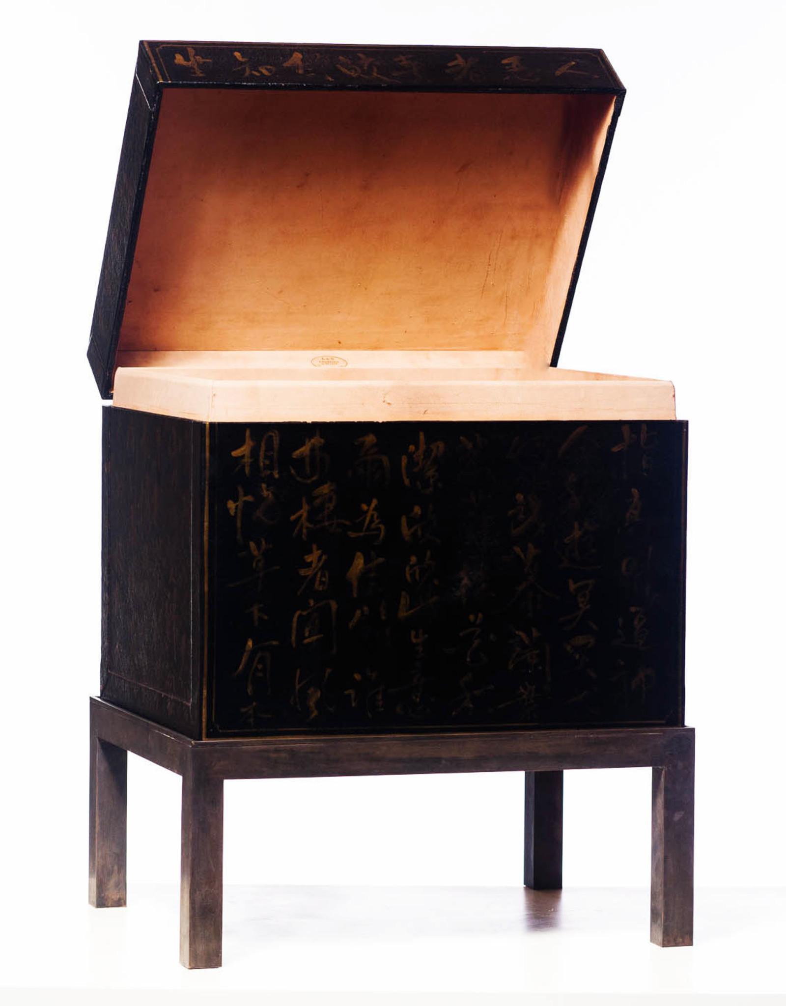 "Lawrence & Scott Black Inscription Leather Box (18.5"")"