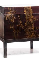 "Lawrence & Scott Mahogany Meridian Leather Box (18.5"")"