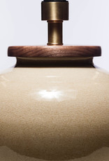 Lawrence & Scott Luca Porcelain Table Lamp in Oyster Crackle with Walnut Base