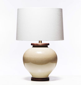 Lawrence & Scott Luca Porcelain Table Lamp in Oyster Crackle (Walnut)