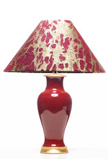 Lawrence & Scott Legacy Gabrielle Baluster Porcelain Lamp in Oxblood with Gilded Gold Base