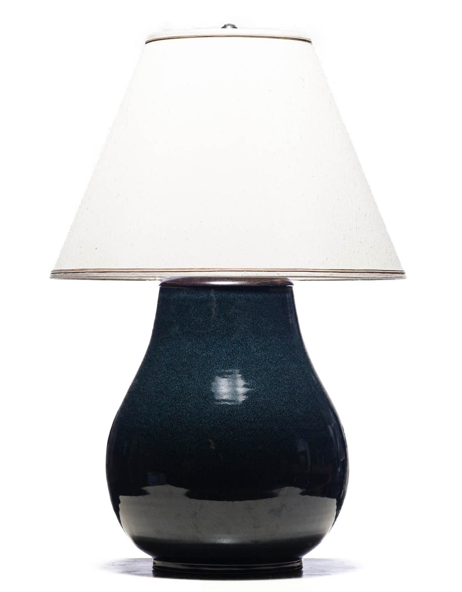 Lawrence & Scott Legacy Lillian Table Lamp in Ocean Blue Textured Glaze with Rosewood Cap